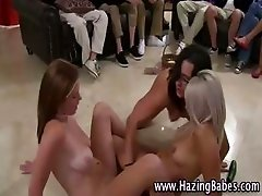 Three naked teens giving a sex show as part of initiation