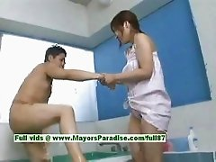 Nao Ayukawa innocent naughty asian girl gives head in the bathroom