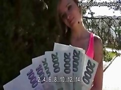 Pretty girl flashes and fucked in public for a good amout of money