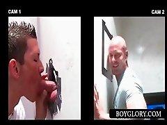 Hot stud gets gay dick sucked on gloryhole