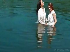 Lesbos work wet bodies in the lake