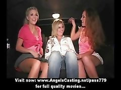 Hot blonde lesbians having threesome toying pussy with sex toys