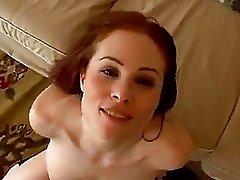 Filthy red haired Ginger Lea gets her mouth cummed after a nice hard bang