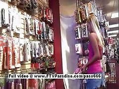 Tamara stunning long hair blonde babe shopping toys