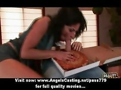 Bored milf in hot underwear does blowjob and fucked hard by pizza guy