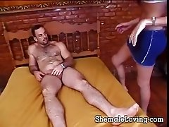 Nasty shemale takes a cock up her ass