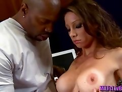 Busty MILF Angel Sucking on a Big Black Cock