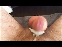 Very long hands free cumshot