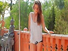 brunette have sexy garden shower