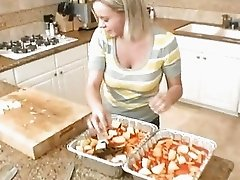 Pretty teen Bree Olson baking in her kitchen