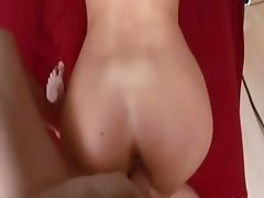 Training her tight analhole on the sofa