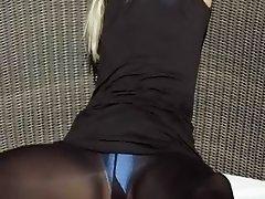 Incredible blonde in shoes teasing