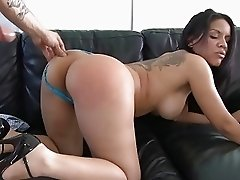 Lusty and busty latina wife gives deep warm blowjob