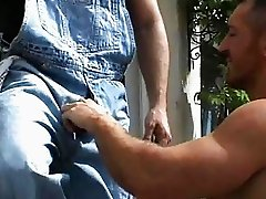 Muscular gay dude fucked handyman outdoors