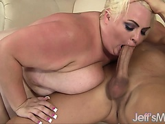 Pale-skinned BBW Trashley Treasures enjoys a big dick