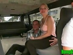 Busty Blonde Takes off her Shirt for the Hump Bus Guys