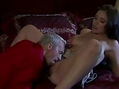 Brunette babe Beverly Hills empties some heavy balls after she fucks them dry
