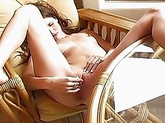 Jenny hot brunette babe fingering pussy and having strong orgasm
