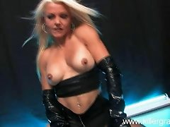 Sensual blonde milf with big tits does blowjob on her knees