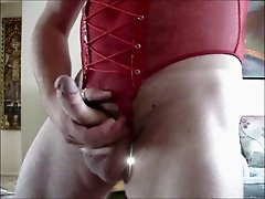EDGING IN MY RED MESH UNDERWEAR