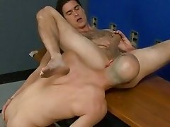 Big bald guy is licking his partners ass and fingering it