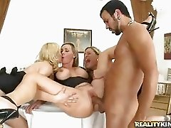 Holly Sampson,Tanya Tate and Tyler Faith milk the cum from a cock