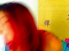 Latina Webcam: Gorgeous Redhead Does A Striptease