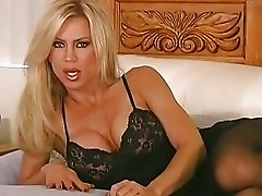 Amber Lynn tears nylon pantyhose