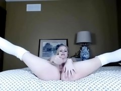 Titty Blonde In Red Stockings Steamy Solo