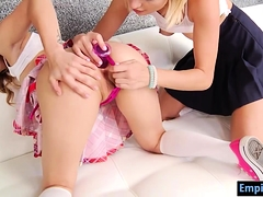 Cute teens rimjob and masturbate each other's assholes