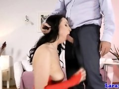 Fashionable mature stocking gets jizz in butt