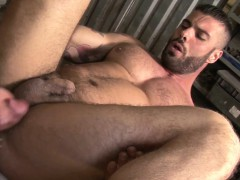 Muscular bottom jizzed on after anal