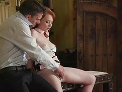 Amazing redhead temptress Athena fucked hard by a hung stud