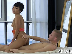 Gorgeous darling is man with her wild anal riding