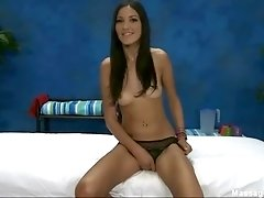 Gizelle in black lace panties massage