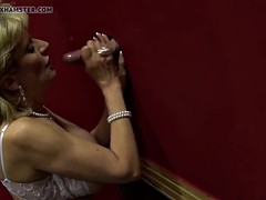 Blonde milf l sonia sucking big dick in the glory hole