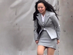 Asian ladies pee outdoors