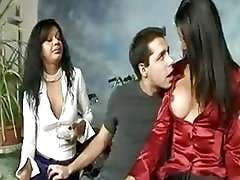Submissive boy gets her ass pounded by two hot trannys