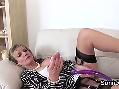 Unfaithful english milf lady sonia flaunts her giant breasts
