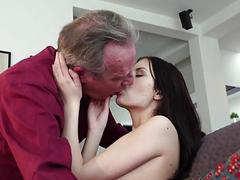 Old man Warming up my young pussy and I swallow