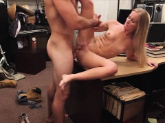 Blonde bimbo fucking pawnkeepers shaft