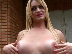 Horny transsexual likes anal games with her man
