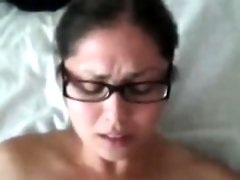 Naughty girl with glasses gets banged hard
