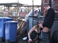 kinky redhead's fucked in sexy linegrie outdoors