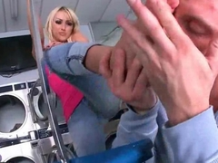 Breanne Benson enjoys footsex in laundry