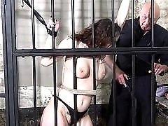 Cute female prisoner whipping and harsh bondage punish session BDSM