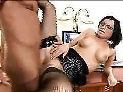 Euro secretary slut fucks her boss to a huge orgasm