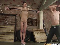 Rope tied sub twink whipped and roughly fucked by