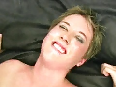 Short hair blonde gets fucked during bukkake