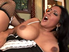 Obedient maid mature in stockings and her hot pussy spanish